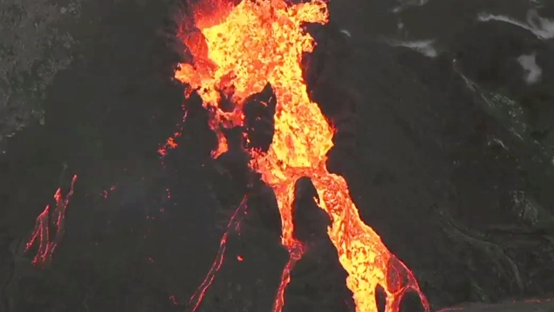 Aerial view of lava flowing at Kilauea Volcano