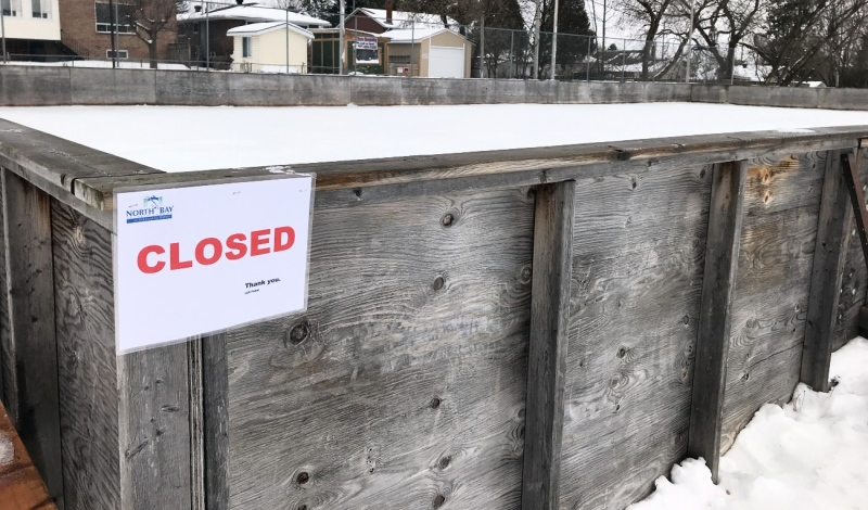 City officials made the decision Wednesday night to close all outdoor city skating rinks and tobogganing hills, and the North Bay Parry Sound Districts Health Unit announced Thursday they must be closed across the district. (Alana Pickrell/CTV News)