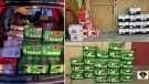 Police stopped a driver who was transporting 58 cases of beer on Highway 401 Wednesday. (OPP photo)