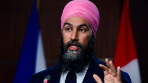 NDP Leader Jagmeet Singh holds a press conference on Parliament Hill in Ottawa on Wednesday, Dec. 9, 2020. THE CANADIAN PRESS/Sean Kilpatrick