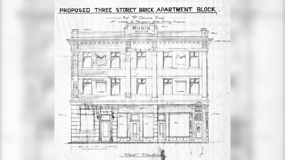 Architectural plans from 1914 for the Rubin Block on 270 Morley Avenue. (Source: City of Winnipeg, central files/ Historical Buildings & Resources Committee)
