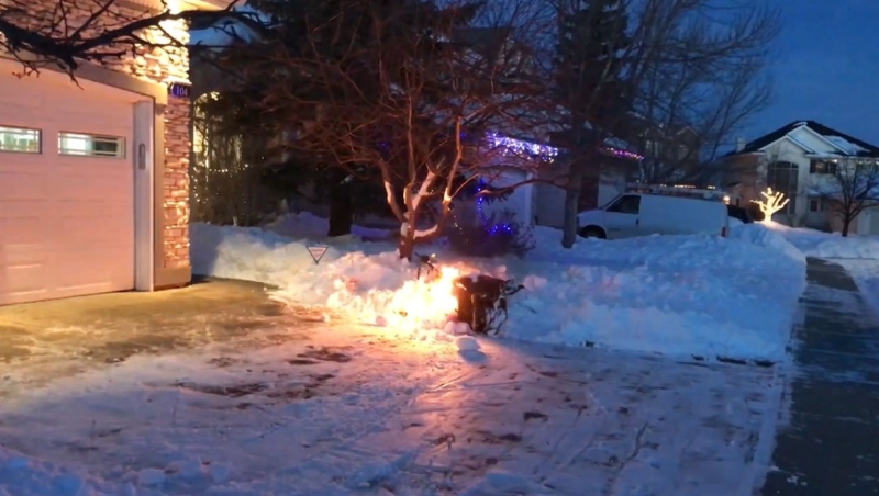 James Lepage's snow blower burst into flames after his son tried to start it a few weeks ago. Honda Canada says its unaware of any issues with the particular model. (Supplied)