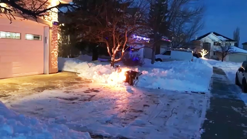A Calgary man says his snowblower caught fire when he tried to clear his driveway after the big snowstorm in late December.