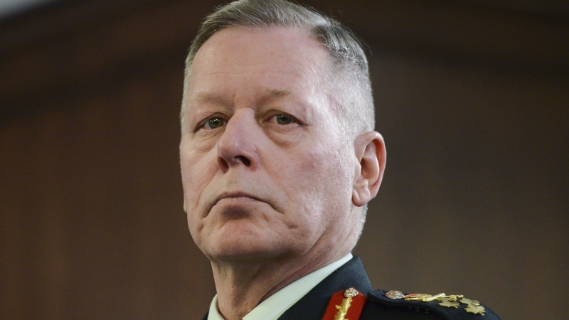 Chief of Defence Staff Jonathan Vance attends a bilateral meeting between Prime Minister Justin Trudeau and Latvian President Egils Levits in London on Tuesday, Dec. 3, 2019. Canada's top general says he is concerned about anything that would give China easier access to the Canadian military's computer networks. THE CANADIAN PRESS/Sean Kilpatrick