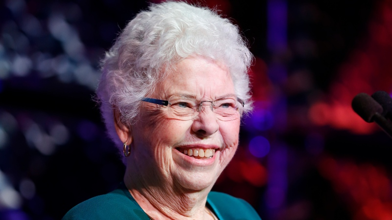 Joanne Rogers speaks on stage during UNICEF Children's Champion Award Dinner honoring Yo-Yo Ma and Alli and Bill Achtmeyer at The Castle at Park Plaza on June 1, 2017 in Boston, Massachusetts. (Scott Eisen/Getty Images North America)