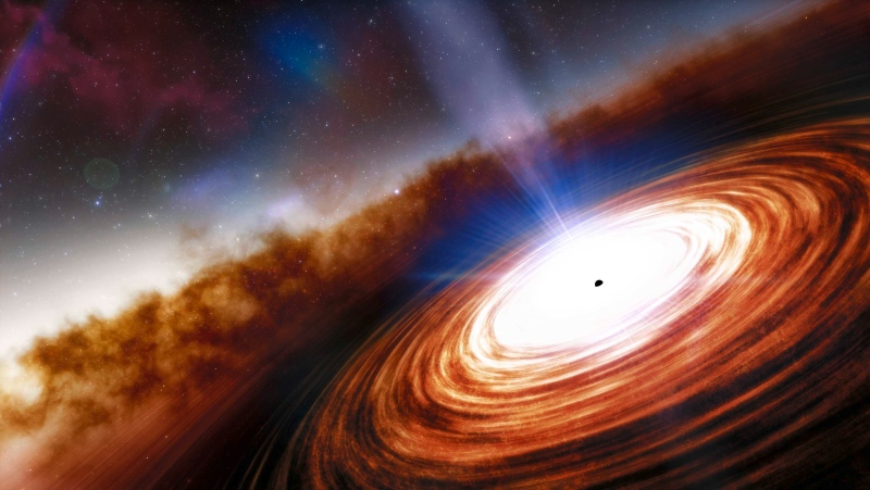Artist's conception of the quasar J0313--1806, seen as it was only 670 million years after the Big Bang. (NOIRLab/NSF/AURA/J. da Silva via CNN)