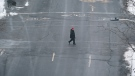 A pedestrian crosses an empty Rene-Levesque Boulevard under Quebec's new COVID-19 lockdown in Montreal, on Wednesday, January 13, 2021. THE CANADIAN PRESS/Paul Chiasson