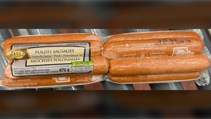 Harvest brand Polish Sausages have been recalled due to undercooking. (Canadian Food Inspection Agency)