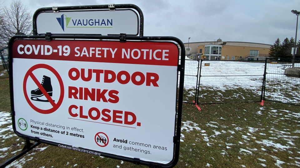 A sign indicates skating is not allowed in Vaughan, Ont. on Jan. 15, 2021. (Phil Fraboni/CTV News Toronto)