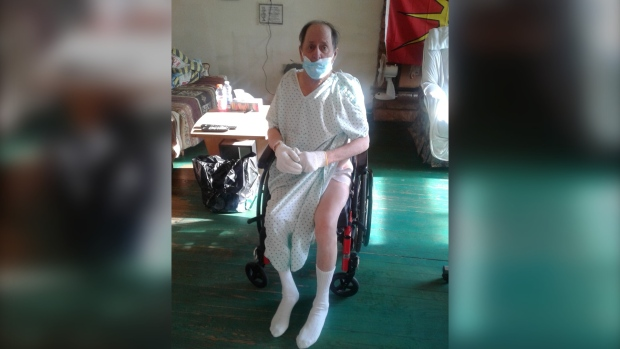 Winston Soenrese Nelson was discharged from the St. Eustache Hospital in sub-zero temperatures wearing only a hospital gown. SOURCE: Cheryl Nelson