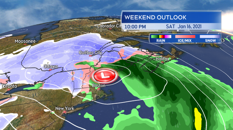 A strong coastal storm will move into Maine and then northern New Brunswick late Saturday into Sunday bringing the Maritimes snow, rain, and high winds.