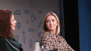 Bumble files for IPO. Seen here, Diane Von Furstenberg (left) and Founder of Bumble Whitney Wolfe Herd (right) speaks onstage on October 25, 2018 in New York City.