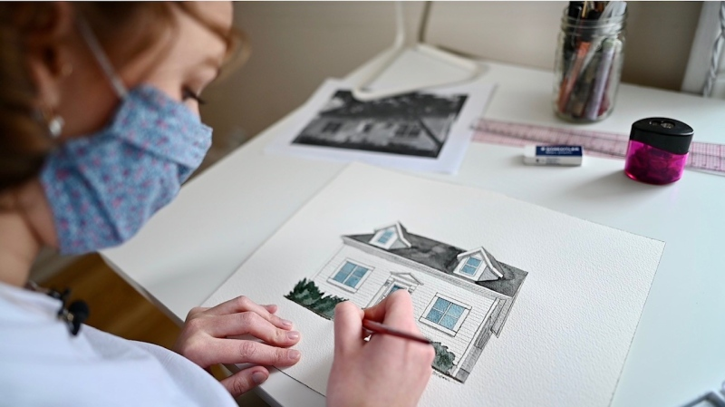 Victoria Dark's illustrations of homes and buildings in Ottawa are in high demand. (Joel Haslam/CTV News Ottawa)