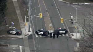 Police are seen investigating after an active incident in Oakville, Ont. on Jan.15 (CTV News Toronto)