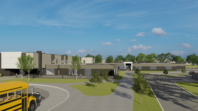 Rendering of a the elementary portion of a new Kingsville school. (Courtesy GECDSB)