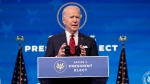 U.S. President-elect Joe Biden speaks during an event at The Queen theater, Friday, Jan. 15, 2021, in Wilmington, Del. (AP Photo/Matt Slocum)
