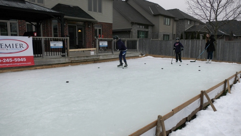 Backyard rink at the home of the Barth Family, Friday January 15, 2021 (Marek Sutherland / CTV News)