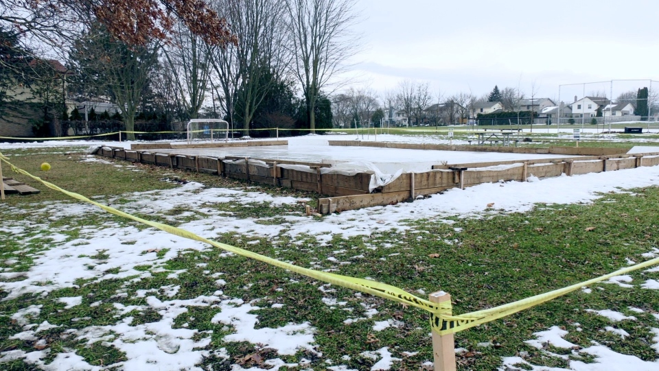 A neighbourhood skating rink at Westmount Lions Park in London - Friday January 15, 2021 (Marek Sutherland / CTV News)
