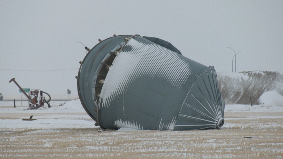A snowstorm left Randy Donovan's grain bins scattered across his farm. (Marc Smith / CTV NEWS)