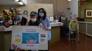 Amenida Seniors Community in Surrey, B.C. announced Friday that 110-year-old JaHyung Lee had received his first dose of the Pfizer/BioNTech vaccine during a clinic at the assisted-living facility on Thursday. (Amenida Seniors Community)