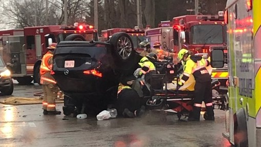 A car flipped on its roof after the driver lost control and hit a parked car - Jan. 15, 2021 (Source: London Fire Department)