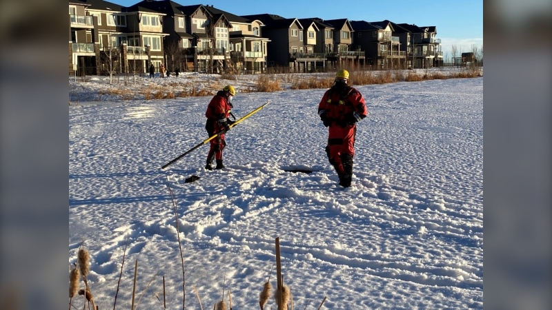 Chestermere Authorities are hoping the family of a child who fell through the ice of a storm pond will contact them (Courtesy: City of Chestermere)