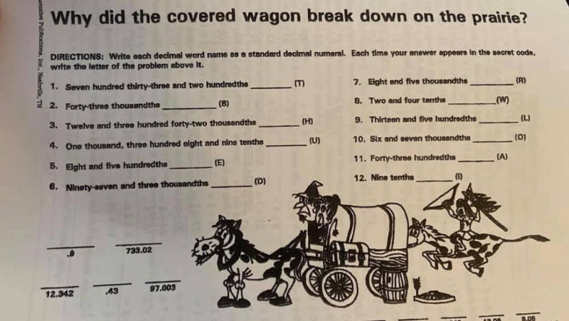 Grace Masse said one of her children was given a math worksheet (pictured) with offensive image depicting an Indigenous person on horseback who appears to be attacking two people in a horse-drawn carriage. (Submitted: Grace Masse)