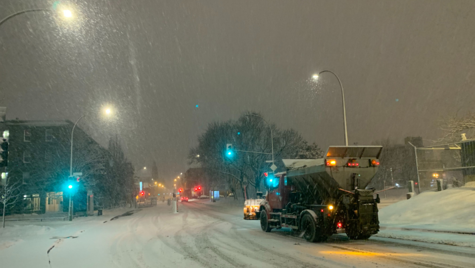 Crews out clearing snow in Montreal