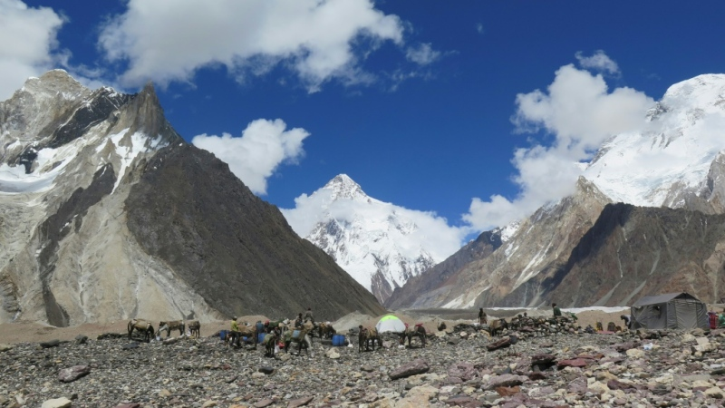 A Nepalese team has claimed the first winter asecent of K2 (C, pictured in summer) in the Karakoram range. (AFP)