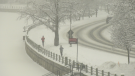 Two people jog in Ottawa during a snowstorm Saturday, Jan. 16, 2021. (Shaun Vardon / CTV News Ottawa)