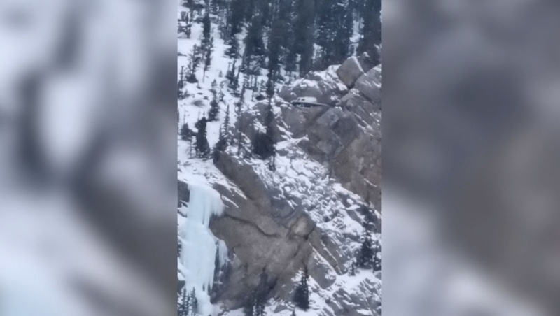 A rescue helicopter was dispatched to pluck the injured ice climber from the side of the mountain. (Supplied/Mike Fikowski)