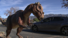 A drive-thru exhibit in California let people see lifelike dinosaurs from the comfort of their car.