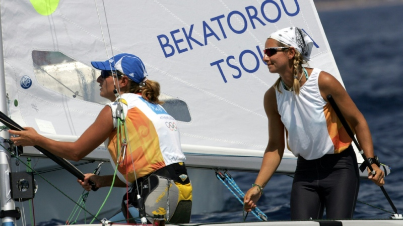 Sofia Bekatorou (right) and crew member Tsoulfa Aimilia compete at the 2004 Athens Olympics. (AFP)