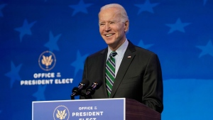 President-elect Joe Biden speaks during an event at The Queen theater, Saturday, Jan. 16, 2021, in Wilmington, Del. (AP Photo/Matt Slocum)