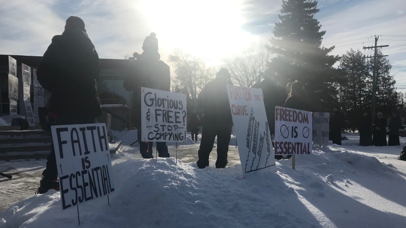 Anti-restriction protesters gathered at Steinbach City Hall on January 16. (Source: CTV News/Simon Stones)