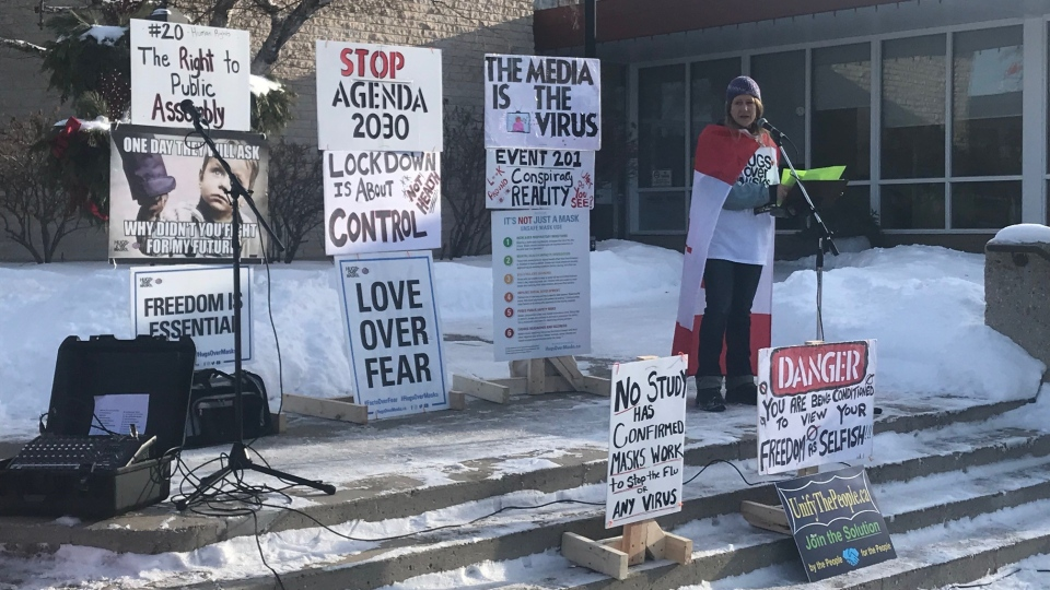 Anti-restriction protesters gathered at Steinbach City Hall on Saturday, Jan. 16, 2021. (Simon Stones/CTV News)