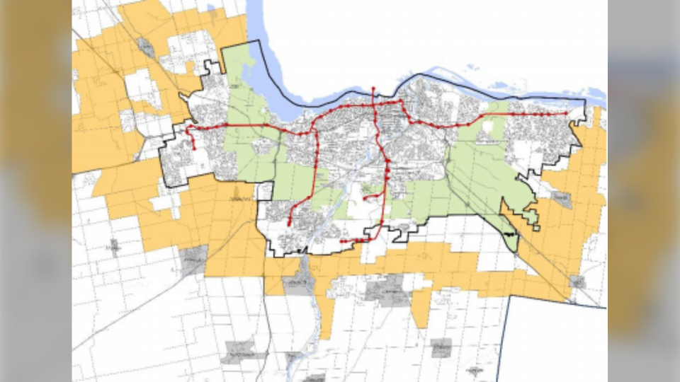 A conceptual map in a City of Ottawa report showing a propose 'gold belt', the areas in yellow, that would limit urban sprawl through 2100. (City of Ottawa