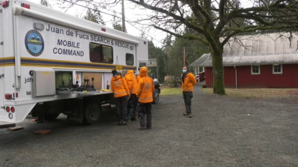 Juan de Fuca Search and Rescue teams capped off a busy and emotionally taxing week by rescuing two hikers on Bluff Mountain Friday night.