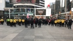 Police are on the scene of an anti-lockdown protest at Yonge-Dundas Square on Jan. 16, 2021. (CTV News/Craig Wadman)