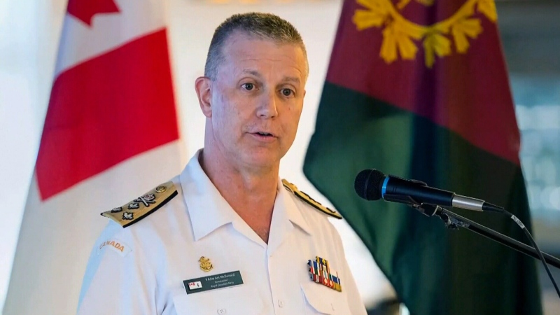 FILE - Vice Admiral Art McDonald, commander of the Royal Canadian Navy, addresses a media briefing concerning the results of HMCS Chicoutimi Health Surveillance Study, in Halifax on Thursday, July 11, 2019. THE CANADIAN PRESS/Andrew Vaughan
