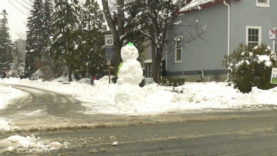 A snowman built at the intersection of Union Street and Crichton Street in Ottawa, Jan. 16, 2021. (Shaun Vardon / CTV News Ottawa)