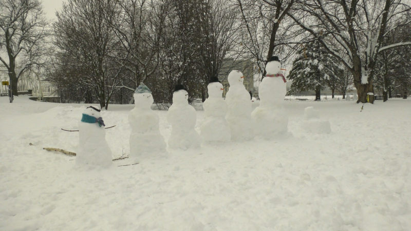 A snow family in Stanley Park next to the Rideau River in Ottawa. Jan. 16, 2021. (Shaun Vardon / CTV News Ottawa)