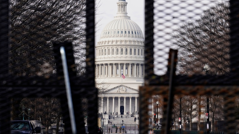 Security surrounds the U.S. Capitol in Washington, Friday, Jan. 15, 2021, ahead of the inauguration. (Susan Walsh/AP)