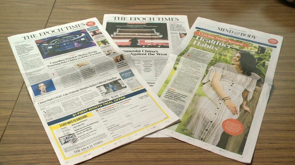 A copy of the Epoch Times seen here in this undated file photo.