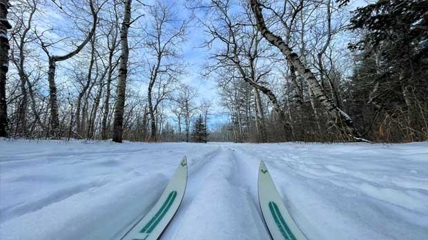 Cross country ski trail Bluestem Trail Birds Hill . Photo by Jennifer Zacharias.