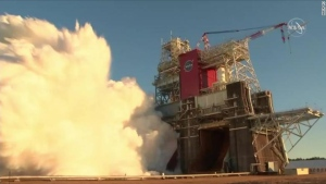NASA's Space Launch System during the test on Saturday. (CNN/NASA)