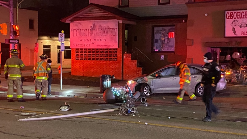Accident involving a vehicle and a streetlight had a section of Wyandotte Street in Windsor, Ont. closed on Saturday, Jan. 17, 2020. (Daniel Cress/CTV Windsor)