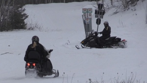 The Ontario Federation of Snowmobile Clubs is advising sledders to only ride in their own public health unit districts, coinciding with public health recommendations not to travel to other communities. Jan. 16/21 (Sergio Arangio/CTV News Northern Ontario)