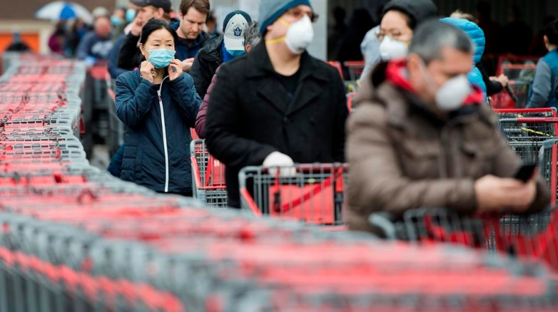 Shoppers are shown at a big box store in this file photo. (The Canadian Press)