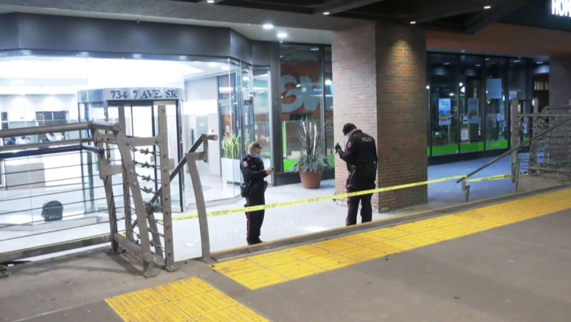 Calgary police are looking for a suspect they say stabbed a man on Saturday night.
